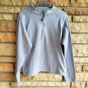 The Northface 1/2 Zip ice blue pullover sz L